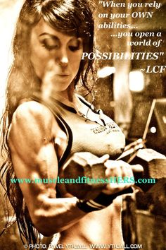 """Muscle & Fitness Hers: """"When you rely on your OWN abilities, you open a world of possibilities."""""""
