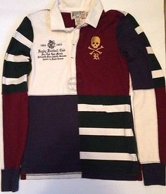 RUGBY Ralph Lauren Flag Skull Patch Rugby Football Club Long Sleeve Small Polo