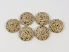 Set of 6 Antique Fabric Crochet Lace Buttons by SewingVineyard, $25.00