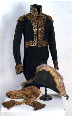 Marshal Davout's tunic, sash and bicorne. Woolen fabric, gold embroidery. 1812