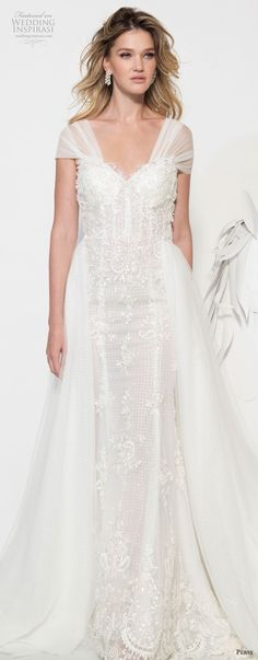 persy couture 2019 bridal thick strap sweetheart neckline full embellishment bustier elegant sheath wedding dress a line overskirt chapel train (3) lv -- Persy Couture 2019 Wedding Dresses | Wedding Inspirasi #wedding #weddings #bridal #weddingdress #bride ~