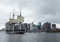 BOSTON (Aug. 22, 2014) USS Constitution sets sail in Boston Harbor during the ship's first chief petty officer heritage week underway demonstration of 2014.