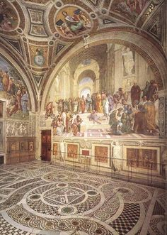 Raphael Philosophy (School of Athens) Pope Library Vatican Palace, Rome 1509 summarizes ideals of Renaissance papacy, artists as philosophers, stages of understanding: learning/comprehension/outcome anticipation/assist teacher