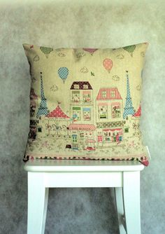 RESERVED FOR TAMARA Happy Paris Cushion/Pillow Cover by LukaMish