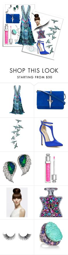 """Maxi dress"" by b-a-hanen on Polyvore featuring Cesare Paciotti, Pier 1 Imports, JustFab, Plukka, Christian Dior, Bond No. 9, Lydia Courteille, maxidress and peacok"