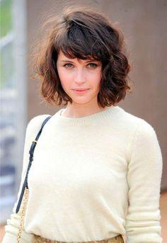 curly hair short bangs - Google Search