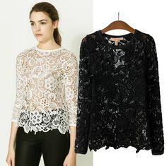 Vintage Lace Blouses | ... Vintage-Sexy-Black-White-Embroidery-Floral-Lace-Crochet-Blouse-Loose