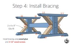 Trestle Coffee Table { Free DIY Plans Step-by-step DIY plans showing you exactly how to build a trestle coffee table for under Trestle Table Plans, Farmhouse Table Plans, Coffee Table Plans, Diy Coffee Table, Diy Table, Wood Table, Diy Outdoor Furniture, Diy Furniture Plans, Furniture Projects