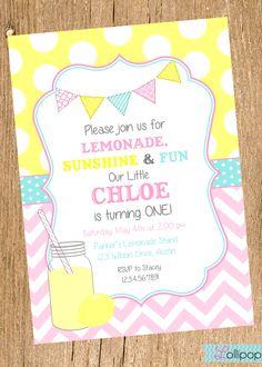 Vintage LEMONADE Printable Birthday Invitation, Vintage Pink Lemonade Birthday Party Invite. $13.50, via Etsy.