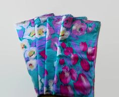 Pink Floral   Upcycled Cloth Napkins Fabric Wipes by debupcycles