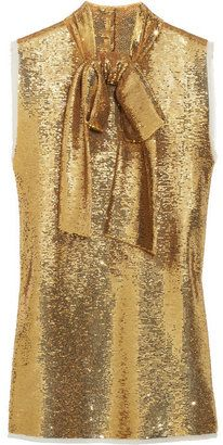 Balmain Sequin-embellished silk top