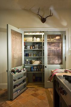 like the idea of this but smaller for the pantry doors.  take a paneled bifold door, replace the top panels with screen or decorative metal grating for ventilation, paint a pretty coral or teal and attach shelves on the bottom for cleaners