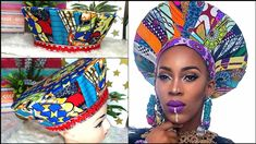Materials Print Fabric Cardboard Lining fabric Hot glue gun Interfacing Scissors/Pinking shears Sewing machine Needle and t. African Crown, African Hats, African Attire, African Fashion, Zulu, Hair Wrap Scarf, Hair Scarf Styles, Turbans, Turban Hat