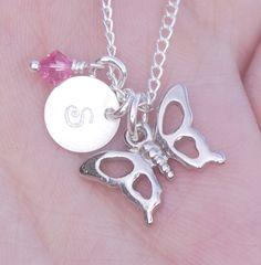 Butterfly Necklace, Butterfly Jewelry Personalized Butterfly Necklace, Cute Girl Necklace, Niece Gifts for Little Girl, Little Girl Jewelry