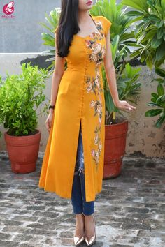 Buy Mustard Modal Rayon Cap Sleeves Patch Work Kurti Online in India Silk Kurti Designs, Salwar Neck Designs, Dress Neck Designs, Kurta Designs Women, Kurti Designs Party Wear, Stylish Dress Designs, Sleeves Designs For Dresses, Collar Kurti Design, Kurta Neck Design