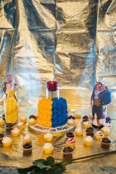 beauty and the beast gender reveal cake