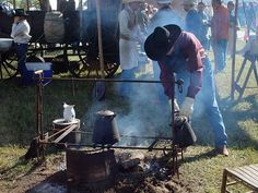 Chuckwagon Cooking - what a terrific idea for the adjustable grate, make it anywhere the temp you want is. Awesome!!!!