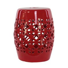 Urban Trends Collection Red Ceramic Garden Stool
