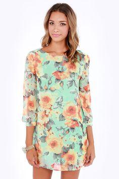 Mint Floral Print Shift Dress