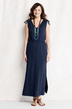 Regular Slub French Terry Tie Shoulder Maxi Dress