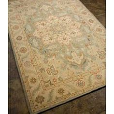 Hand-tufted Cream/ Blue Wool Rug (5' x 8') | Overstock.com Shopping - Great Deals on JRCPL 5x8 - 6x9 Rugs