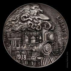 """""""Smoky head"""" engraved by Aleksey Saburov."""