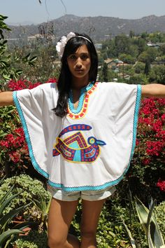 Aztec Hand Embroidered Mexican Poncho