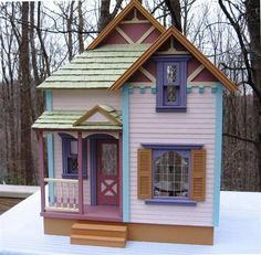 These colors are TOO MUCH FUN!!!     Duracraft Winston Cottage - Handcrafted Finished Dollhouses - Nonnie's Dollhouses
