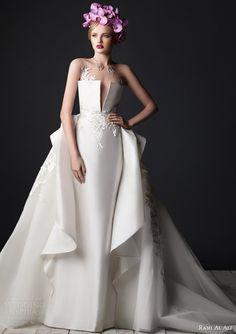 rami al ali bridal 2015 wedding dress split crumb catcher neckline side drape