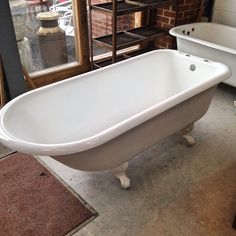 Reclaimed cast iron roll top slipper bath for sale on SalvoWEB from ...