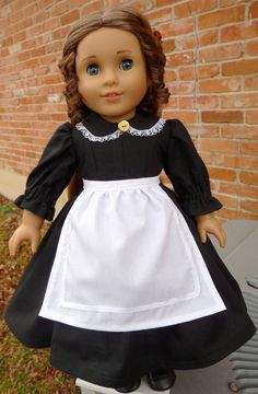 "18"" Doll Clothes 1860s Civil War Style Black Dress with Apron Fits American Girl Marie Grace, Cecile, Addy"