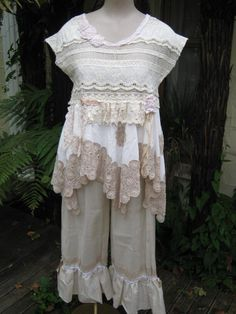 Vintage Kitty shabby chic, pretty antique needlework, upcycled lace, tunic, roses, beach wedding. med - lg. $189.00, via Etsy.