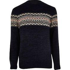 Navy fairisle knit jumper