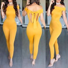 Sexy Women off shoulder Jumpsuit Rompers Long pants Female Overall Playsuit hollow Backless skinny Vintage Bodysuit Yellow s-xl Classy Outfits, Sexy Outfits, Sexy Dresses, Stylish Outfits, Cute Dresses, Cool Outfits, Summer Outfits, Fashion Dresses, Look Fashion