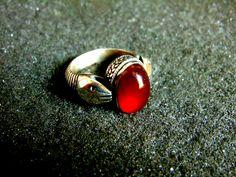 Silver Ring,Sterling Silver Carnelian Statement Ring,Snake Gemstone Ring,Vintage Engraved Ring,Gift Idea,Artisan Jewelry,Greek Art by ArchipelagosBreeze on Etsy