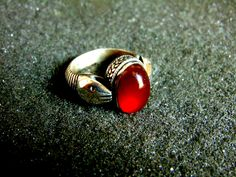 Silver Ring,Sterling Silver Carnelian Statement Ring,Snake Gemstone Ring,Vintage Engraved Ring,Gift Idea,Artisan Jewelry,Greek Art by ArchipelagosBreeze on Etsy