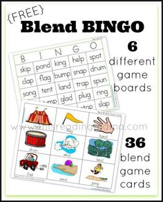 FREE Blend Bingo Word Game ~ includes 6 different game boards and 36 picture cards | This Reading Mama