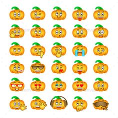Halloween pumpkin emoji emoticons. Smiley face holiday symbol flat vector icons. Different facial emotions and expressions. Cute cartoon character mood and reactions for text chat and web messenger. - Halloween Seasons/Holidays