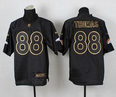 2014 Men's Nike NFL Denver Broncos #88 Demaryius Thomas Pro Gold Lettering Fashion Jerseys