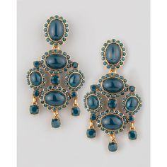 Oscar de la Renta Cabochon Drop Clip Earrings, Green ($450) ❤ liked on Polyvore