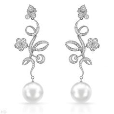 Elegant #diamond and pearl #earrings