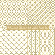 Just Peachy Designs: Free White and Glittery Gold free Digital Paper Set