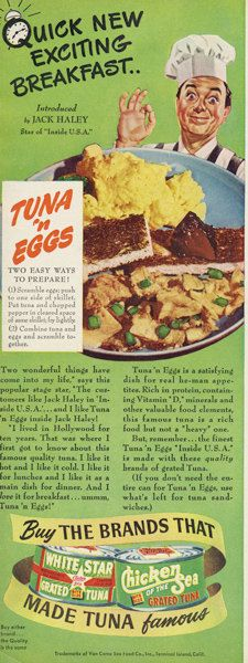 1949 Tuna 'n Eggs Breakfast Recipe Ad White Star & Chicken