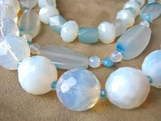 White & Blue Ice necklace adjustable triple strand by IGBijoux, $38.00