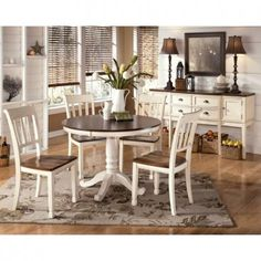 Whitesburg Dinette 5 Piece Set (Table with 4 Side Chairs-Slat)
