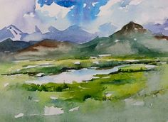 Watercolor Clouds, Watercolor Art Lessons, Landscape Sketch, Watercolor Painting Techniques, Watercolor Projects, Watercolor Landscape Paintings, Watercolor Artwork, Water Paint Art, Guache