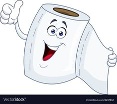 Toilet paper cartoon vector image on VectorStock Simple Cartoon, Cute Cartoon, Cartoon Drawings, Easy Drawings, Bacteria Cartoon, Foto Logo, Smileys, All About Me Preschool, Pencil And Paper