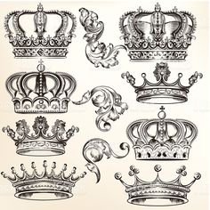 Collection of vector detailed crowns royalty-free collection of vector detailed crowns stock vector art & more images of animal's crest logo Vector set of crowns for your heraldic design Tattoo Drawings, Body Art Tattoos, Crown Silhouette, Crown Tattoo Design, Crown Tattoo Men, Crown Drawing, Crown Art, Brust Tattoo, Graffiti Tattoo