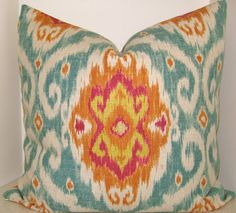 BOTH SIDES 22 x 22 or 20 x 20 Iman Sunstone Ubud Ikat pillow cover turquoise green fuschia yellow orange on Etsy, $40.00