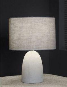 Lampe à poser industrielle béton et tissu gris SLEEPY 2